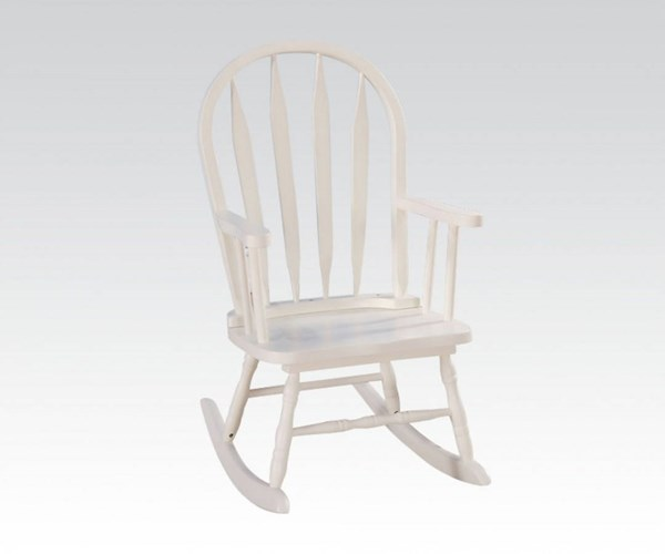 Kloris Youth White Wood Solid Seat Rocking Chair ACM-59216