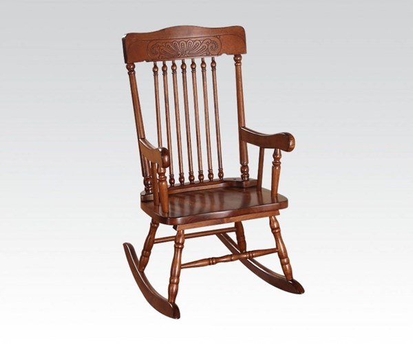 Kloris Youth Tobacco Wood Youth Solid Seat Rocking Chair ACM-59218