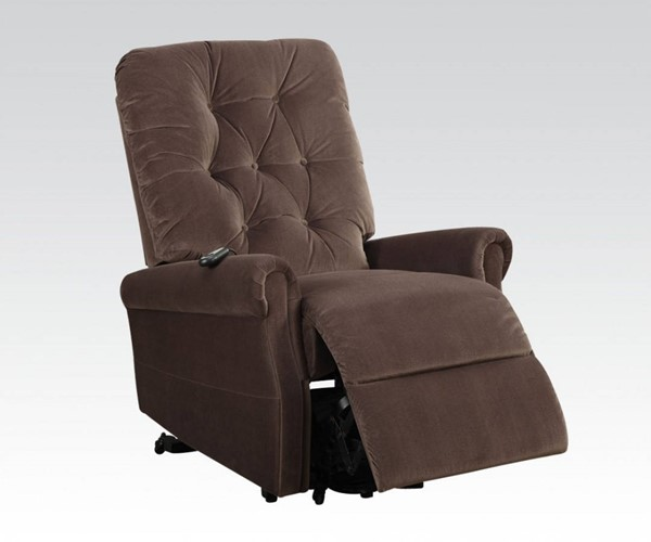 Zody Chocolate Fabric Metal Power Lift Recliner ACM-59241