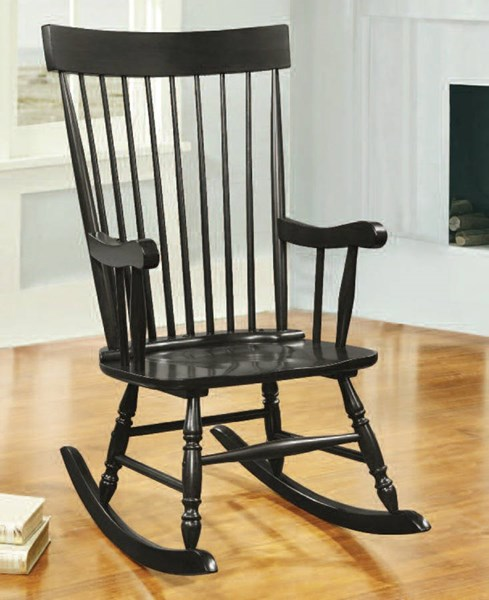 Arlo Black Wood Spindle Back & Turned Legs Rocking Chair ACM-59297