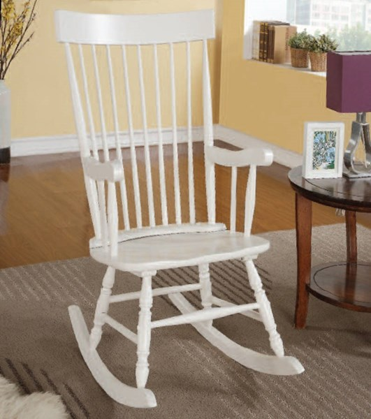 Arlo White Wood Spindle Back & Turned Legs Rocking Chair ACM-59298