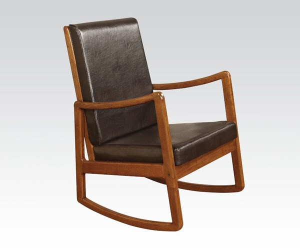 Nyle Dark Brown Oak Wood PU Rocking Chair ACM-59302