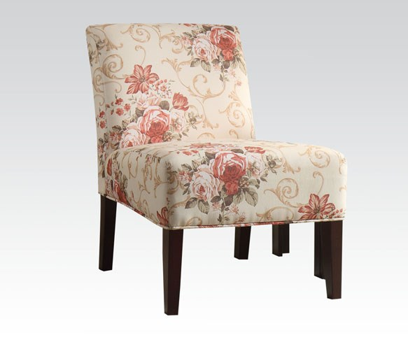 Riston Pink Beige Fabric Wood Armless Accent Chair ACM-59305