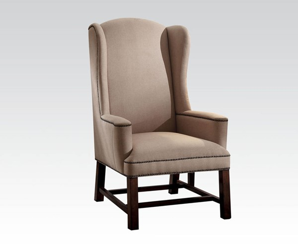 Wells Beige Fabric Wood Wing Back Accent Chair ACM-59308