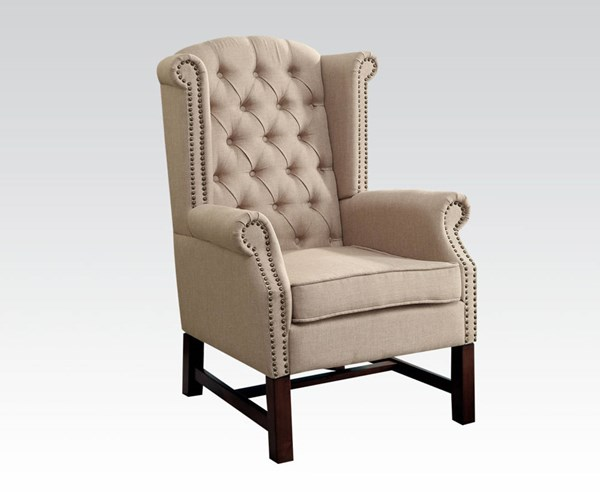 Manly Beige Fabric Wood Wing Back Accent Chair ACM-59310