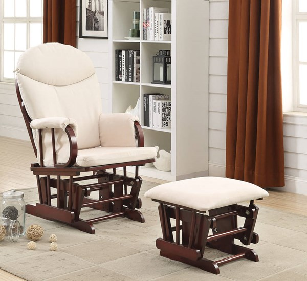 Raul Cherry Beige Wood Fabric 2pc Pack Glider Chair & Ottoman ACM-59330