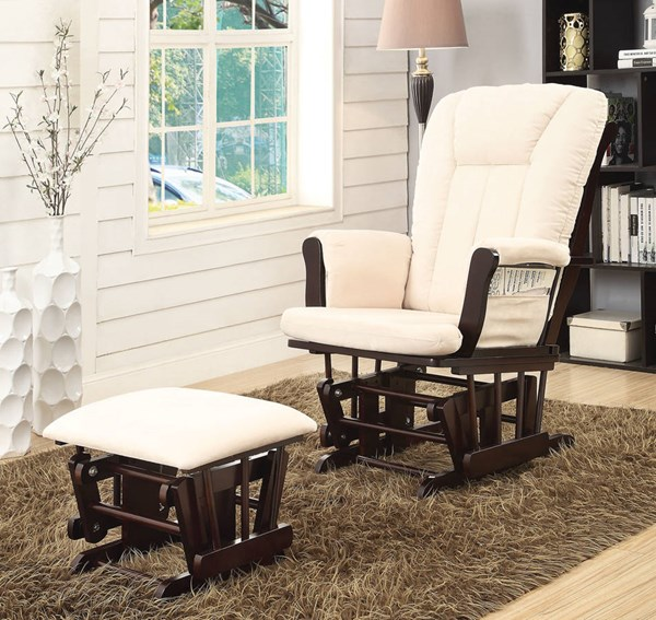 Paola Espresso Beige Wood Fabric 2pc Pack Glider Chair & Ottoman ACM-59334