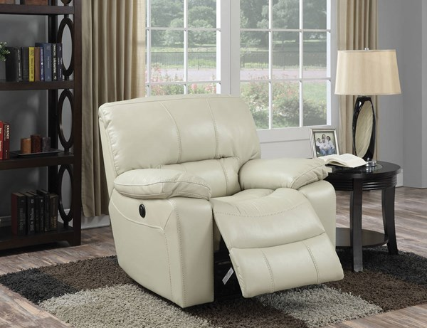 Kimberly Cream Faux Leather Metal Power Motion Recliner ACM-59342