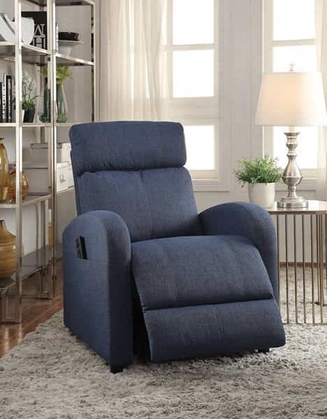 Concha Blue Fabric Metal Power Lift Recliner ACM-59347