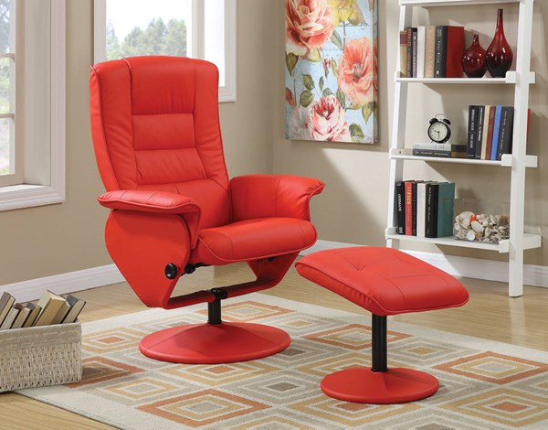 Arche Red PU Metal 2pc Pack Recliner Chair & Ottoman ACM-59364