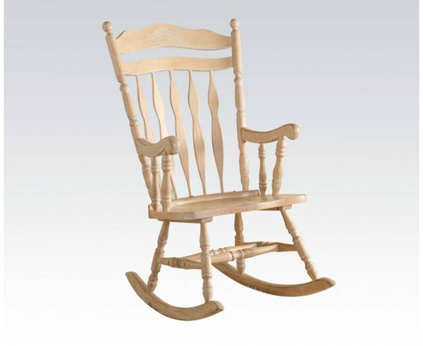 Kloris White Washed Wooden Seat & Back Rocking Chair ACM-59384