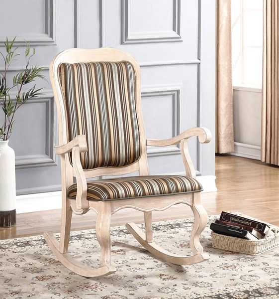 Sharan White Fabric Wood Rocking Chair w/Cabriole Front Legs ACM-59386