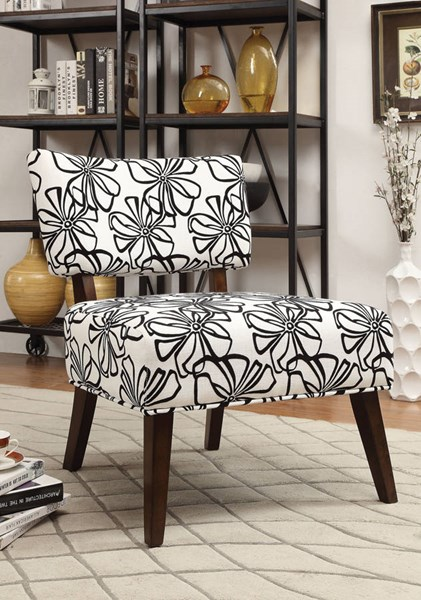 Able White Espresso Fabric Wood Accent Chair ACM-59392