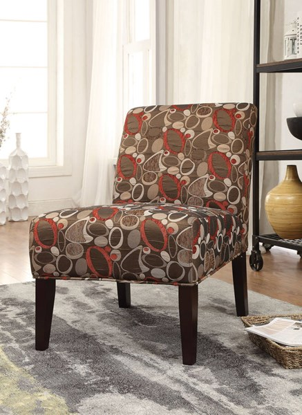 Aberly Espresso Fabric Wood Accent Chair w/Padded Seat & Back ACM-59395