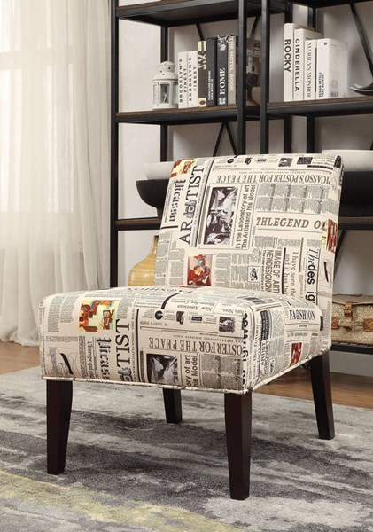 Aberly Espresso Fabric Wood Padded Back Accent Chair ACM-59397