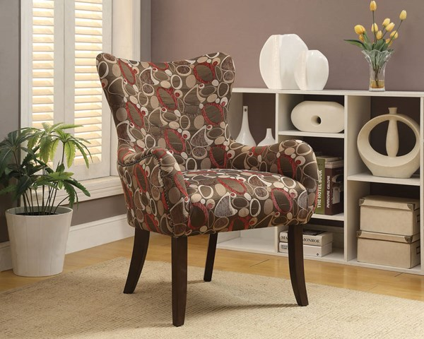 Gabir Red Coffee Fabric Wood Padded Seat & Back Accent Chair ACM-59399