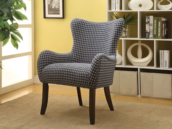 Gabir Blue White Fabric Wood Padded Seat & Back Accent Chair ACM-59401