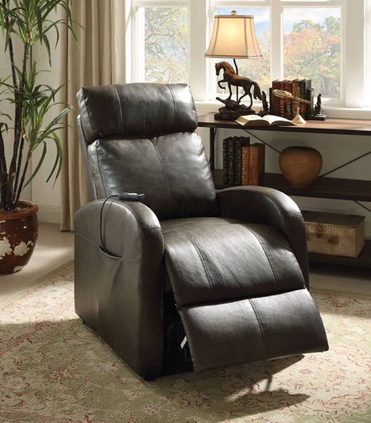 Ricardo Dark Gray Red PU Foam Metal Power Lift Recliners ACM-59405-REC-VAR