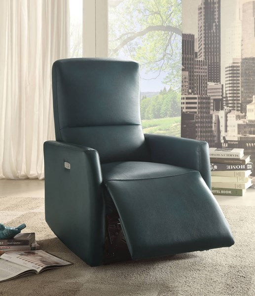 Raff Blue Leather-Aire Metal Power Motion Recliner ACM-59407