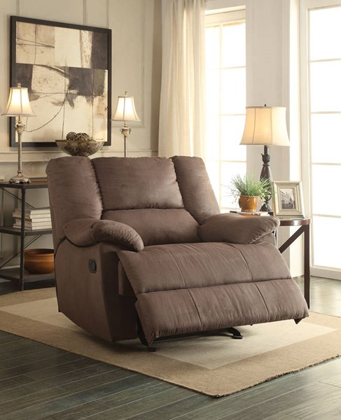 Oliver Dark Gray Fabric Wood Metal Motion Oversized Glider Recliner ACM-59411
