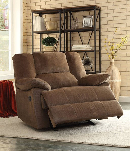 Oliver Chocolate Fabric Wood Metal Motion Oversized Glider Recliner ACM-59415