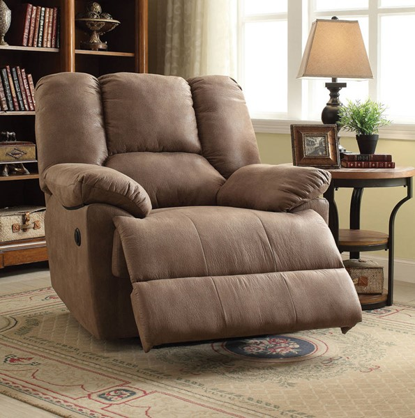 Oliver Light Brown Fabric Wood Metal Power Motion Recliner ACM-59423
