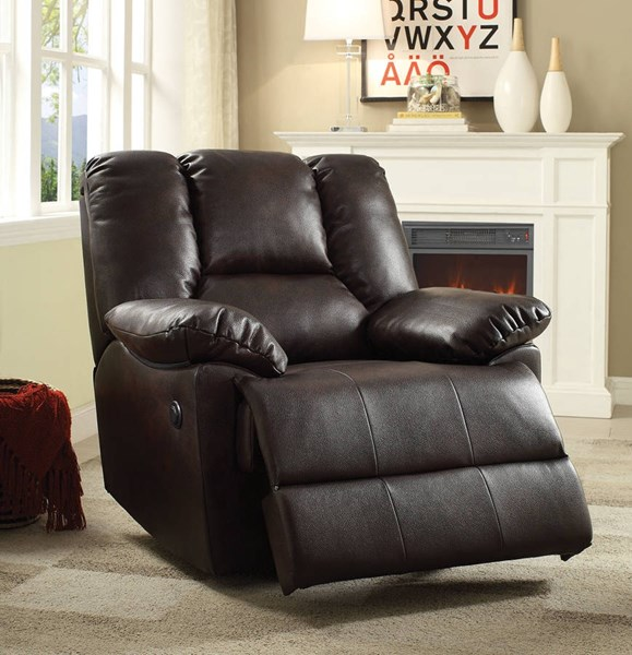 Oliver Dark Brown Leather-Aire Wood Metal Power Motion Glider Recliner ACM-59430
