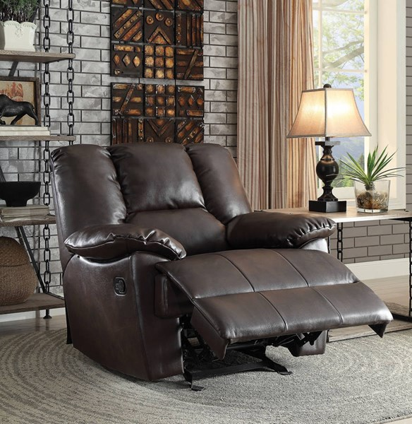 Oliver Brown Leather-Aire Wood Metal Motion Glider Recliner ACM-59432