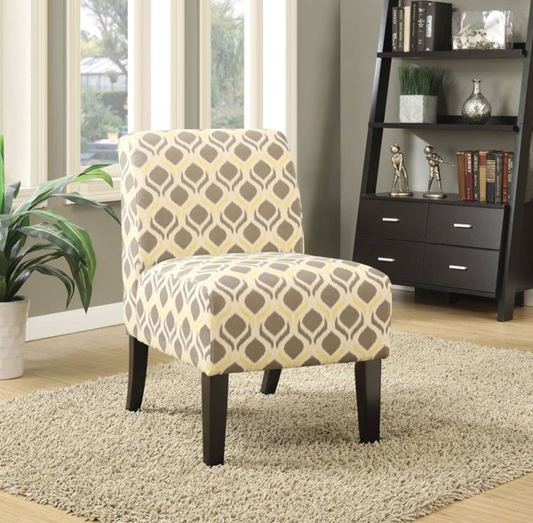 Ollano Contemporary Gray Yellow Fabric Foam Poplar Accent Chair ACM-59440