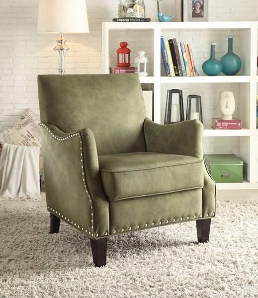 Sinai Contemporary Olive PU Fabric Foam Accent Chair ACM-59446