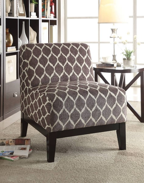 Hinte Contemporary Brown Dark Blue Fabric Poplar Wood Accent Chairs ACM-5950-AC-VAR