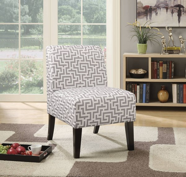Ollano Contemporary Gray Fabric Foam Poplar Accent Chair ACM-59506