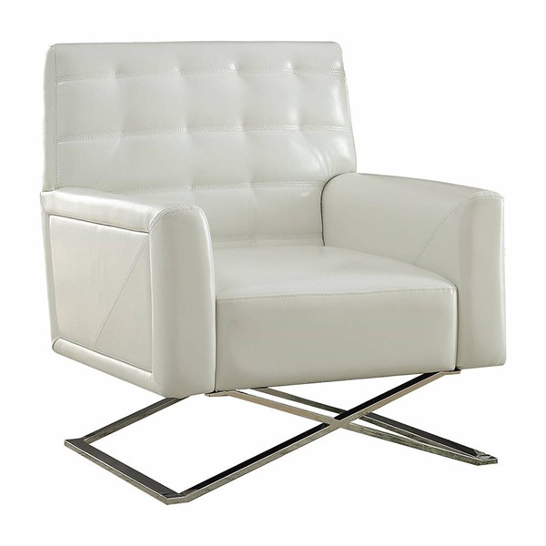 Acme Furniture Rafael White Tufted Back Accent Chair ACM-59784