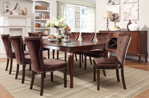 Kingston Formal Brown Cherry Wood Fabric Dining Room Set ACM-60020-DR