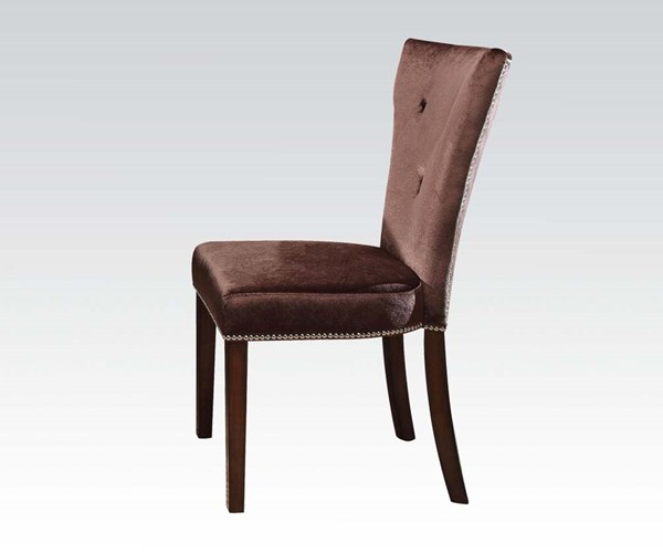 2 Kingston Formal Brown Cherry Wood Fabric Side Chairs ACM-60024