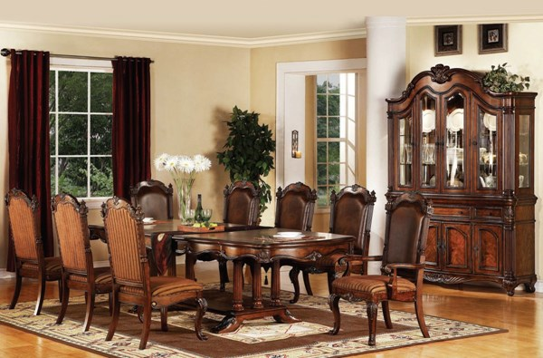 Remington Traditional Brown Cherry Wood Fabric 9pc Dining Room Set ACM-60030-S