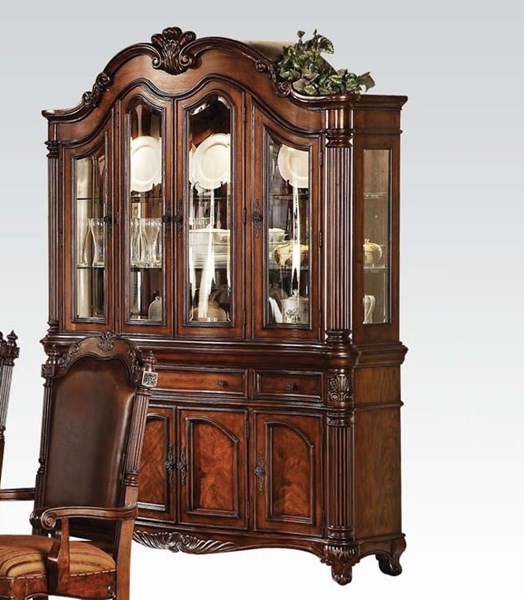 Remington Traditional Brown Cherry Wood Glass Hutch & Buffet ACM-60035
