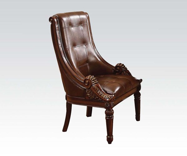 Winfred Elegant Cherry Wood Recessed Side Chair ACM-60077