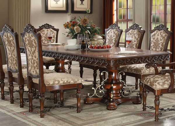 Acme Furniture Wycliff Cherry Double Pedestal Dining Table ACM-60140