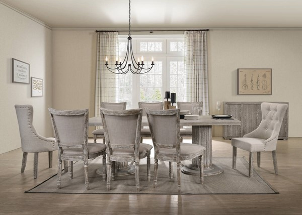 Acme Furniture Gabrian Gray Fabric Wood 9pc Dining Room Set ACM-6017-DR-S1