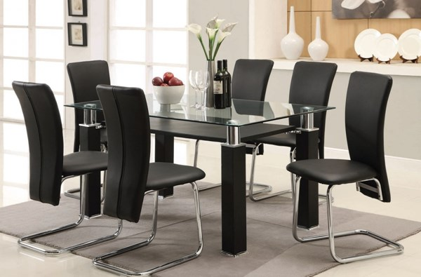 Riggan Black Metal PU Chrome Glass Dining Room Sets ACM-60200-Set