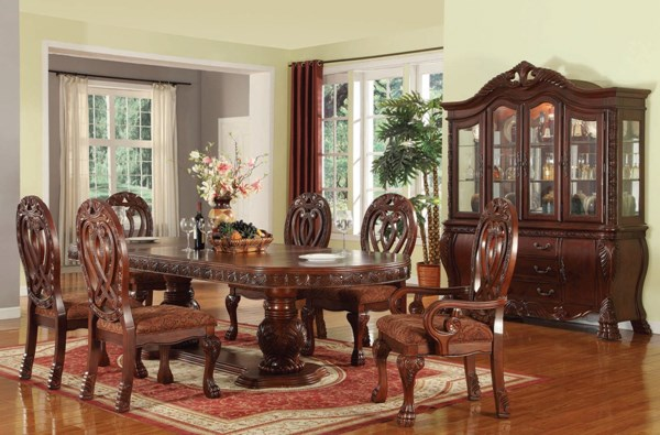 Quinlan Formal Cherry Wood Fabric 7pc Dining Room Set ACM-60265-S