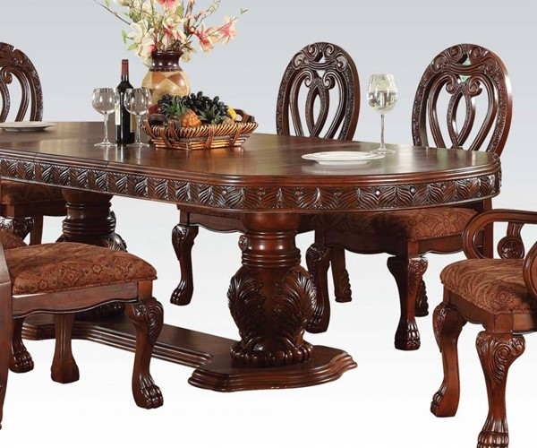 Quinlan Formal Cherry Wood Double Pedestal Dining Table ACM-60265