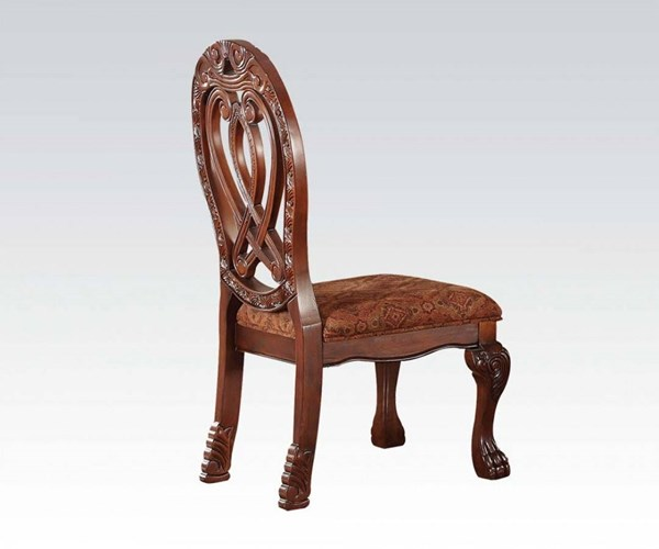 2 Quinlan Formal Cherry Wood Fabric Side Chairs ACM-60268