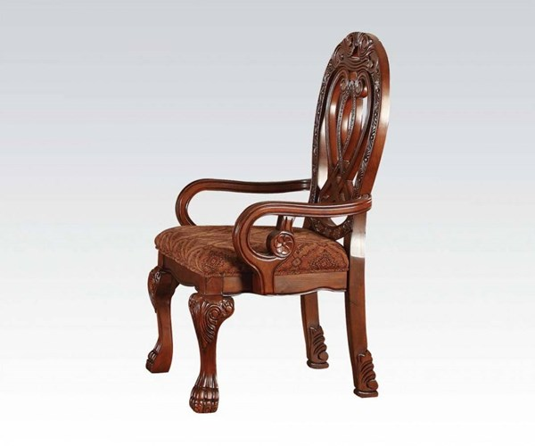 2 Quinlan Formal Cherry Wood Fabric Arm Chairs ACM-60269
