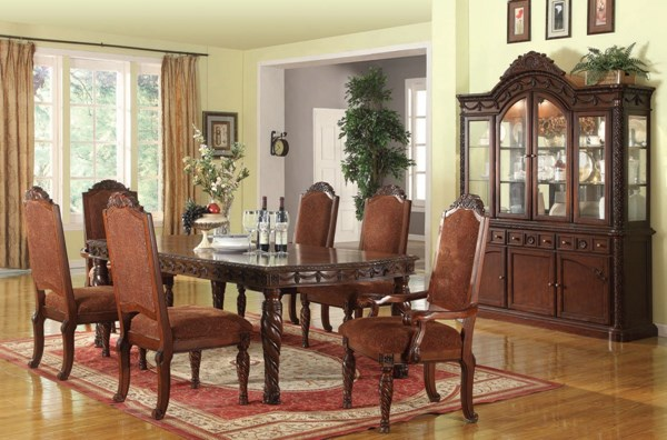 Quimby Traditional Cherry Wood Fabric 7pc Dining Room Set ACM-60275-S
