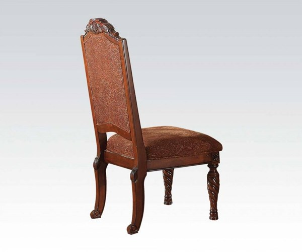2 Quimby Traditional Cherry Wood Fabric Side Chairs ACM-60277