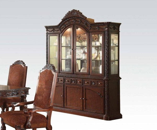 Quimby Traditional Cherry Wood Glass Hutch & Buffet ACM-60279