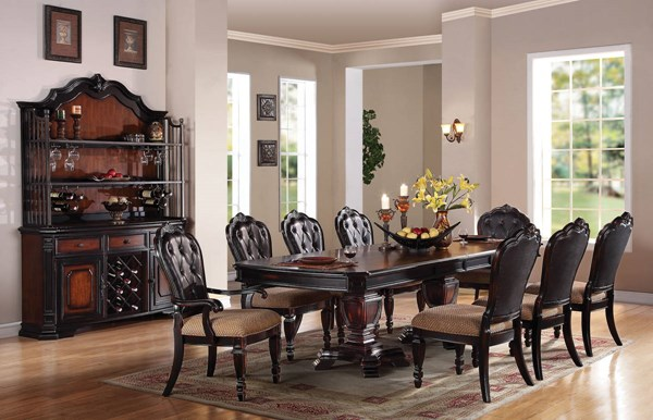 Le Havre Traditional Dark Brown Wood Fabric Dining Room Set ACM-60400-05-B1