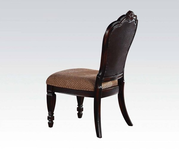 2 Le Havre Dark Brown Bonded Leather Fabric Side Chairs ACM-60403